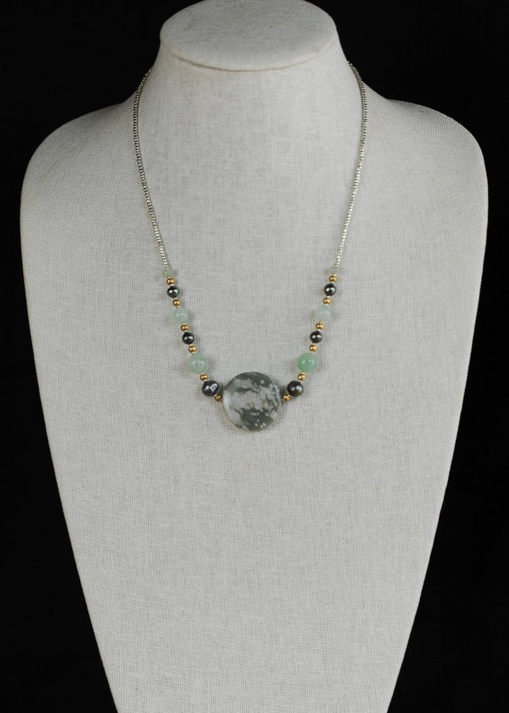 Tinted Green Stone Centerpiece Envy Necklace