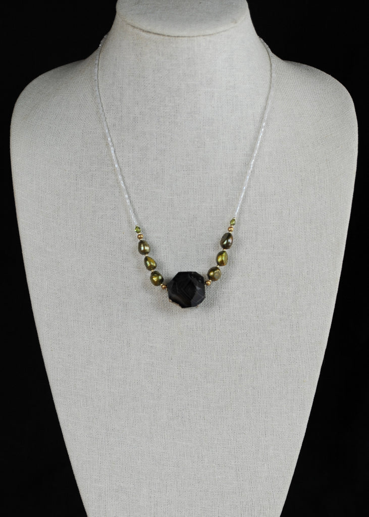 Olive and Cut Quartz Envy Necklace