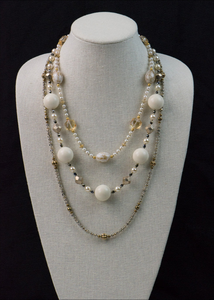 Bold Cream and Gold Necklace