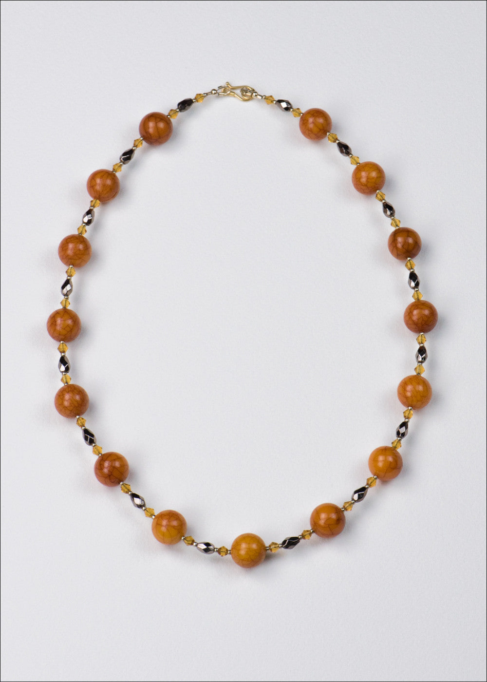 Bold Deep Orange and Grey Necklace