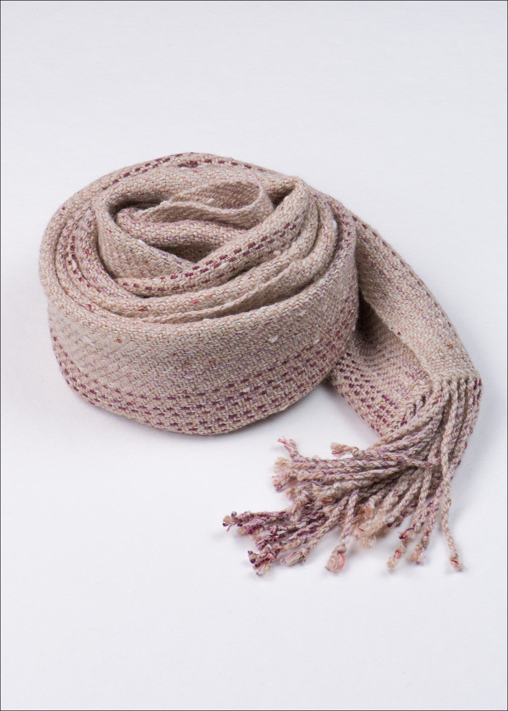 Light Peach Striped Merino Scarf