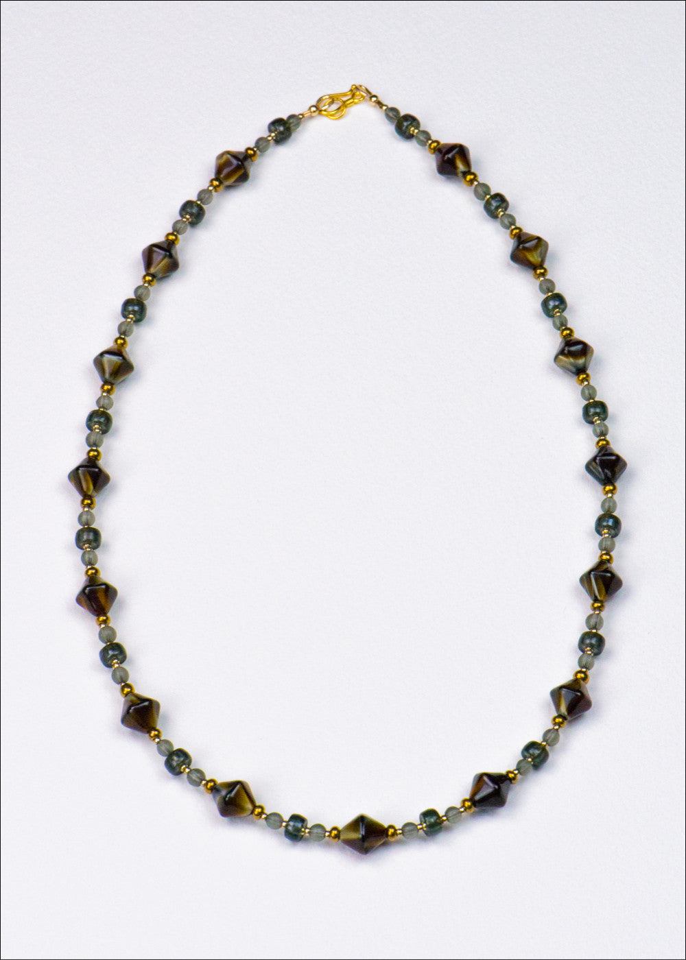 Caramel and Prussian Blue Glass Necklace