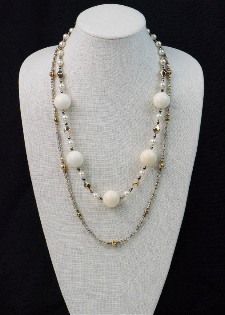 Bold Creme and Gold Necklace
