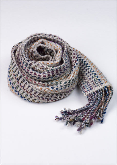 Earth Toned Striped Wool-Silk Scarf