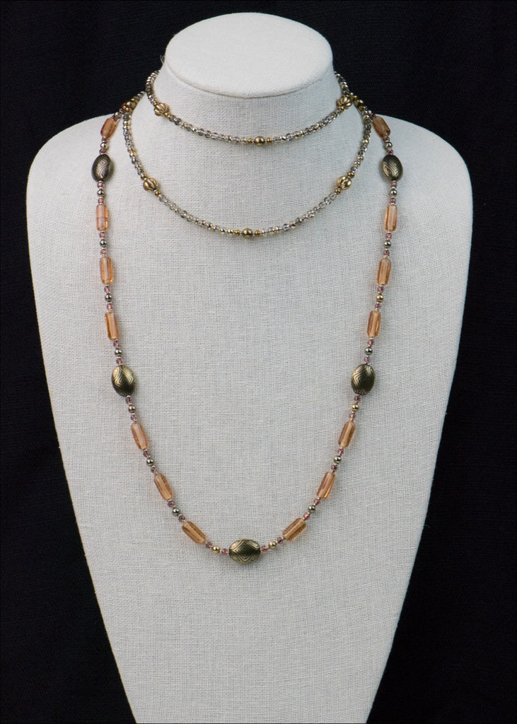 Bold Peach Glass and Metal Necklace