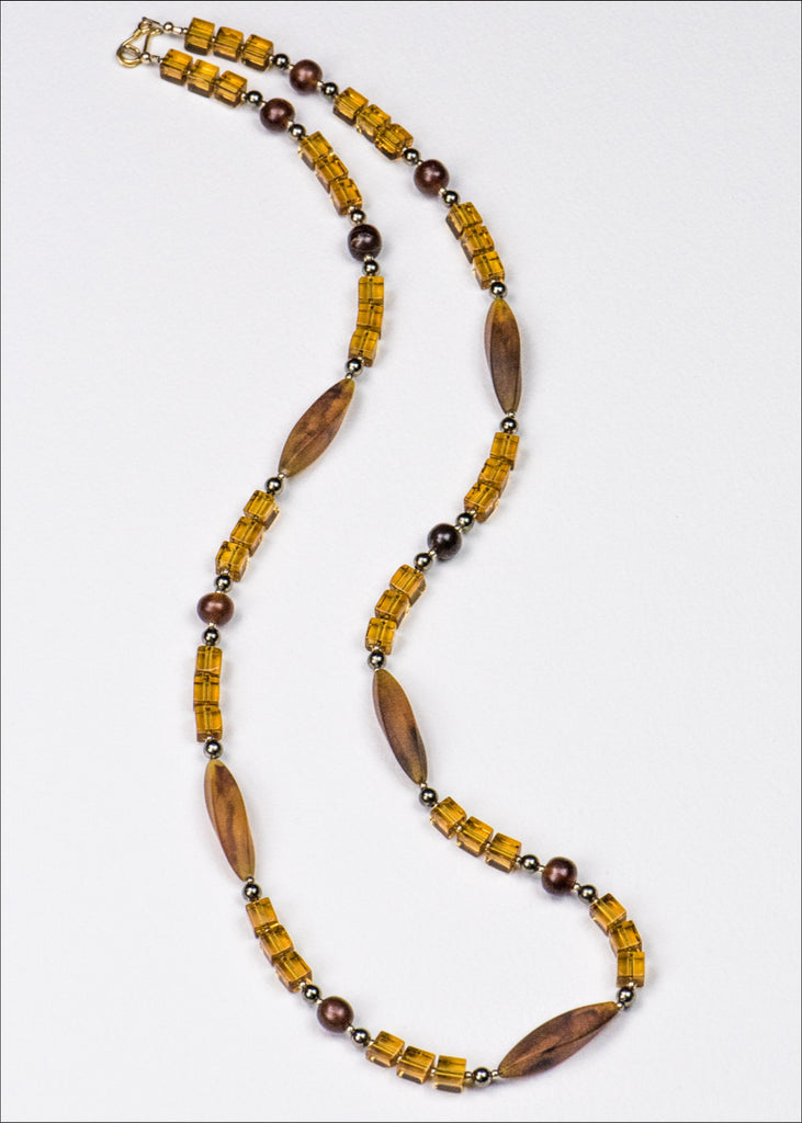 Bright Orange and Caramel Glass Necklace