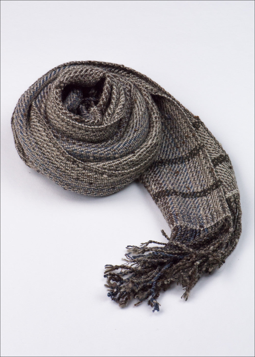 Deep Brown and Blue Stripe Scarf