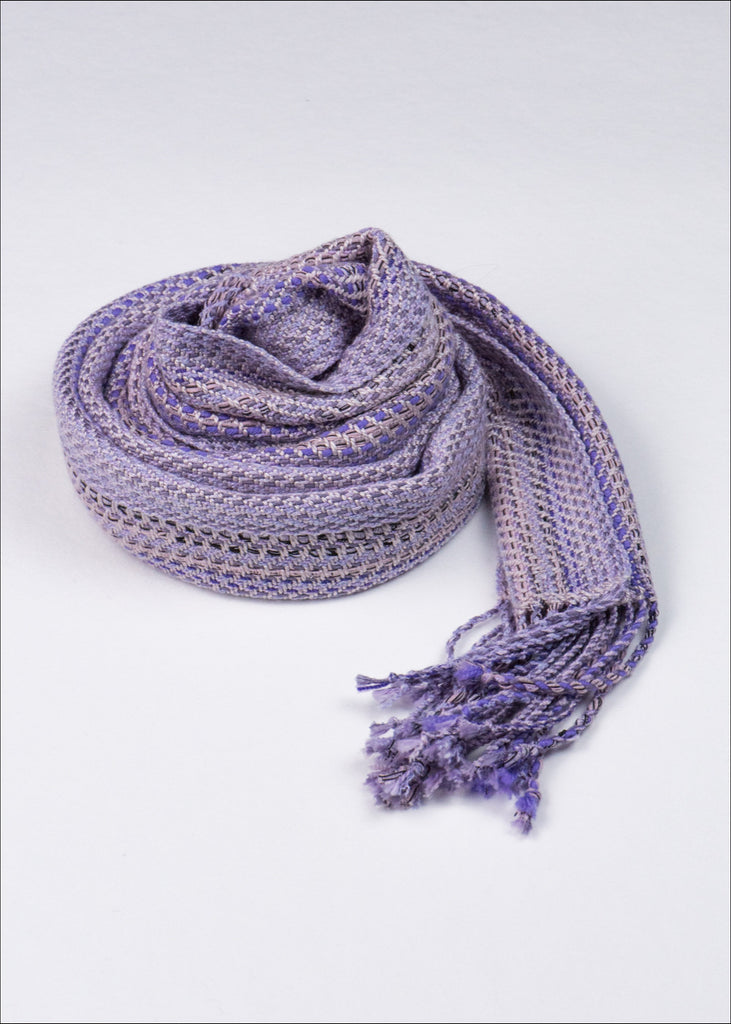 Lavender Striped Silk Scarf