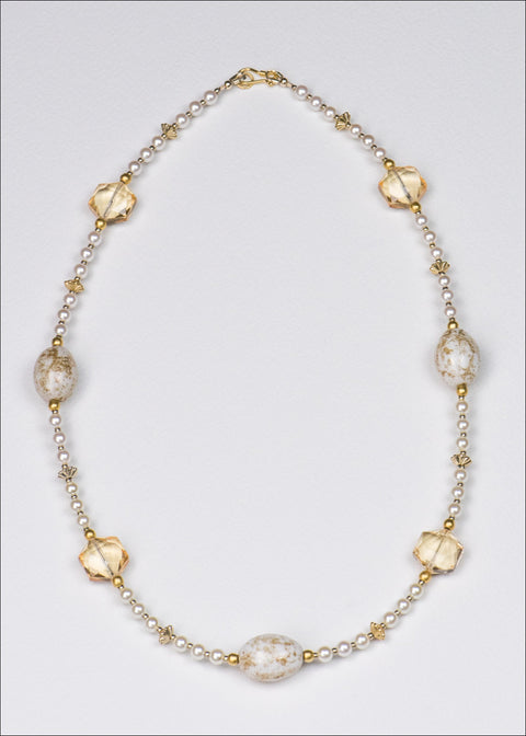 Bold White and Gold Necklace