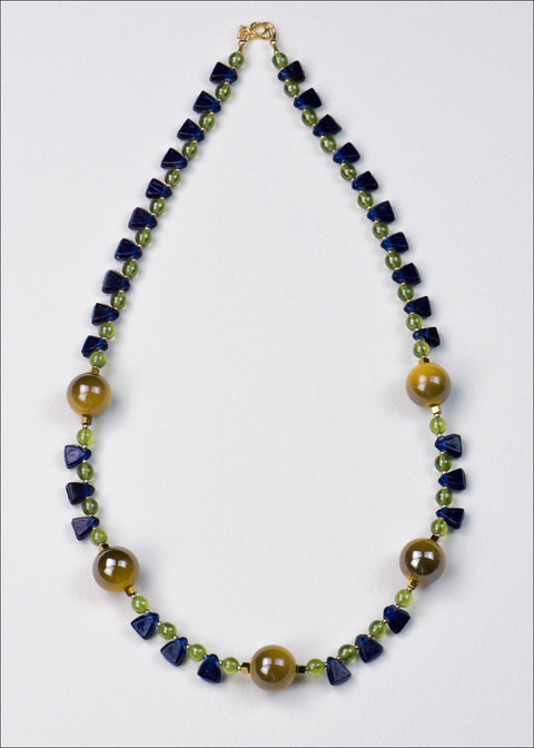 Bold Yellow and Blue Spike Necklace