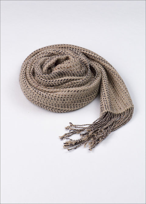 Espresso Brown Wool-Silk Scarf