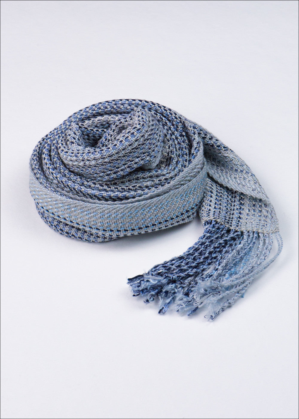 Blue and Black Striped Silk Scarf