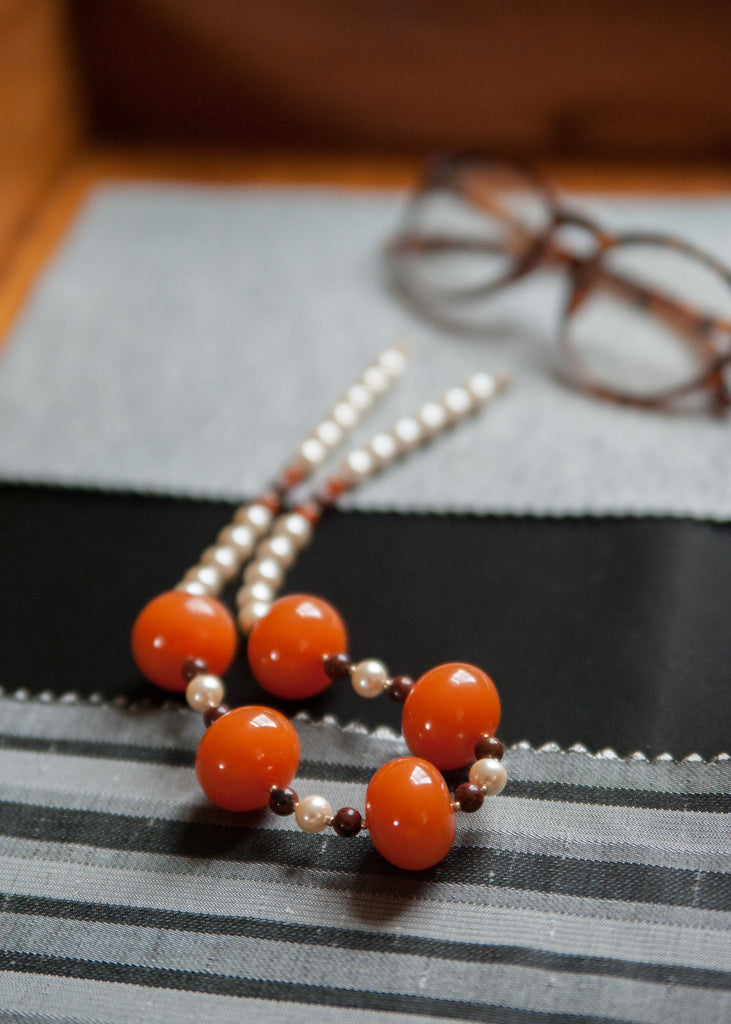 Vintage Maroon and Soft Orange Necklace