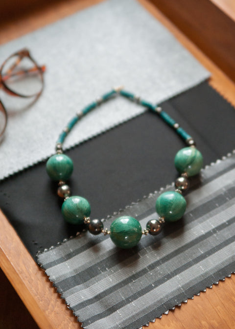 Vintage Deep Green and Gunmetal Necklace