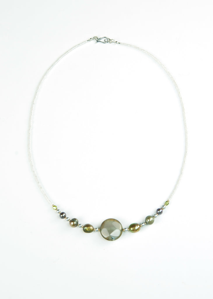 Olive Stone and Pearl Envy Necklace