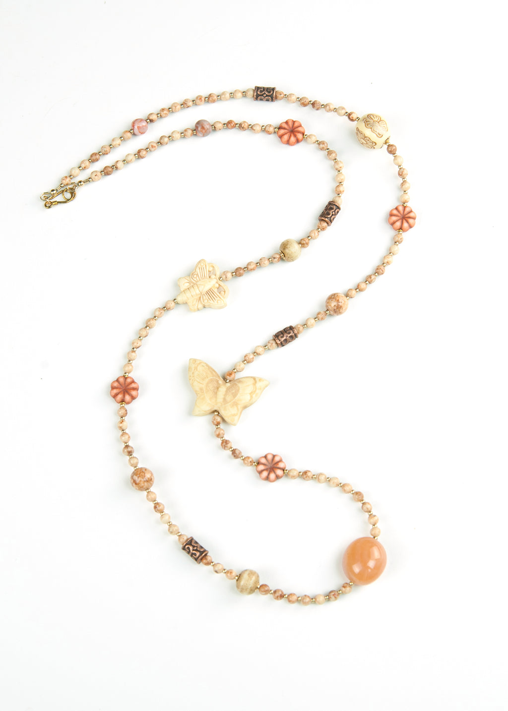 Orange Shaped Stone Yoga Necklace