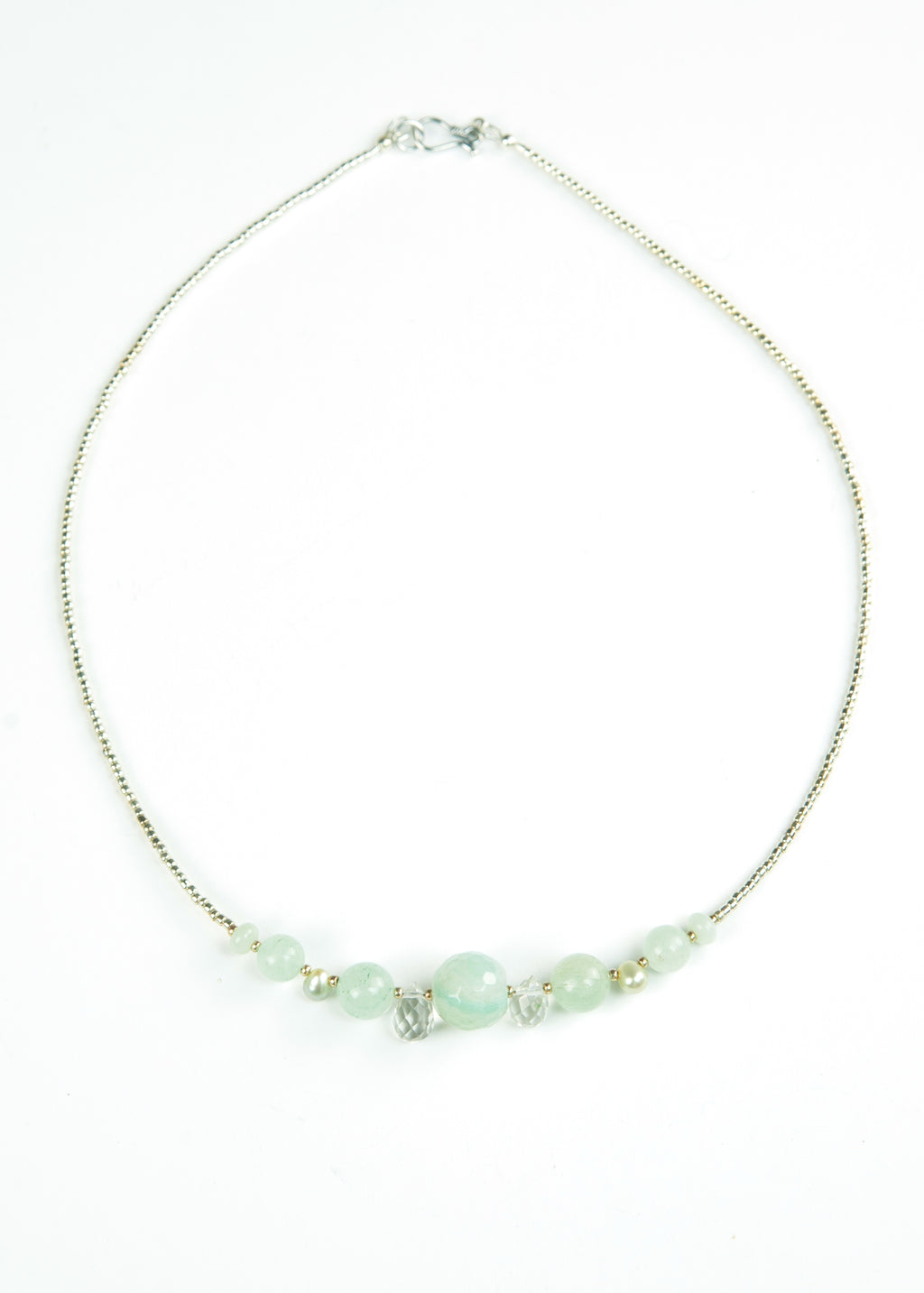 Pale Green Faceted Glass Envy Necklace