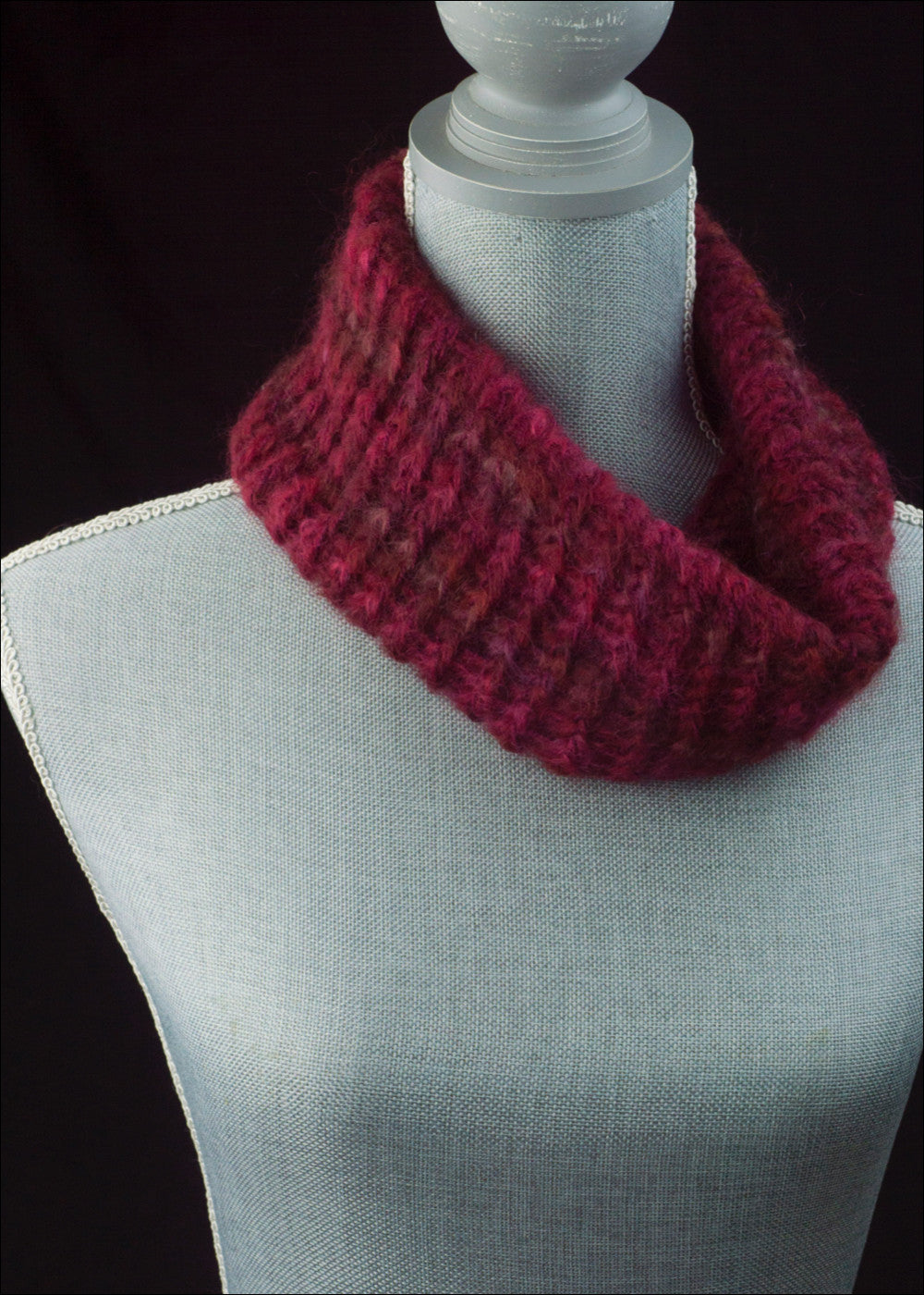 Deep Red and Pink Mohair Cowl