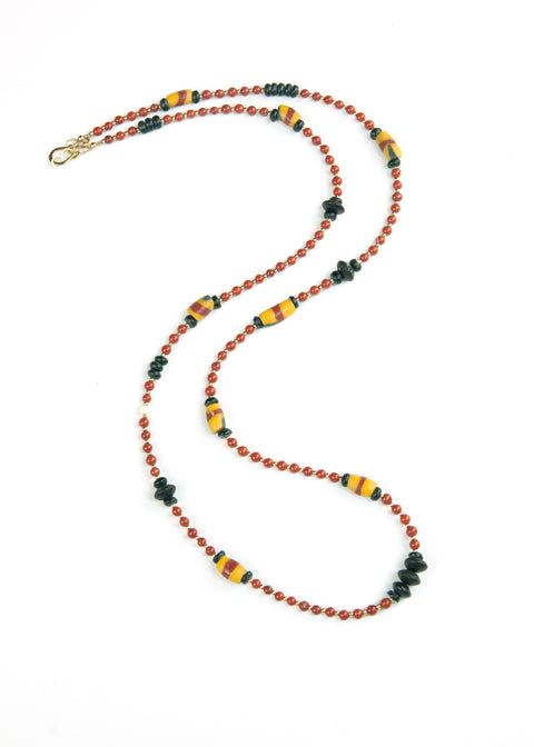 Red Stone and Trade Bead Yoga Necklace