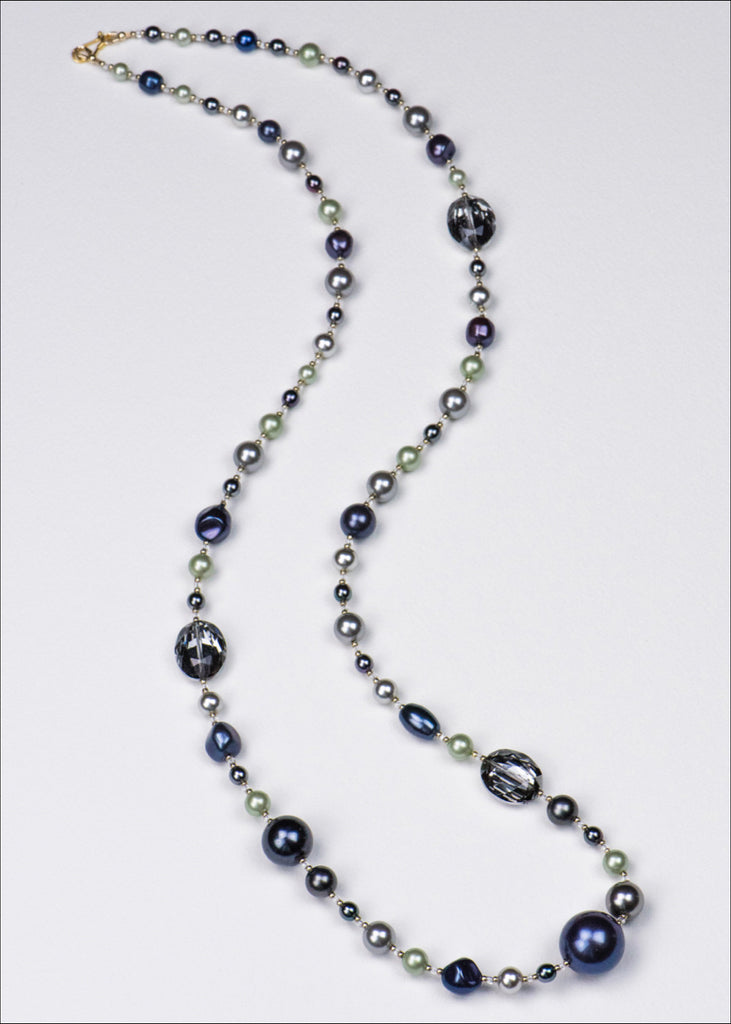 Azure and Lime Pearl Necklace
