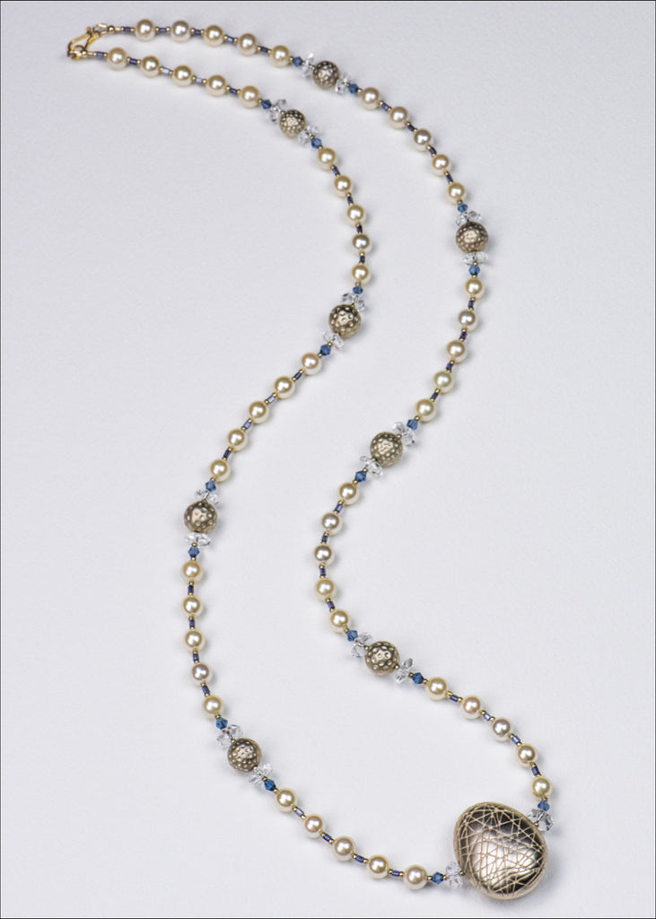 Gold and Hint of Blue Pearl Necklace