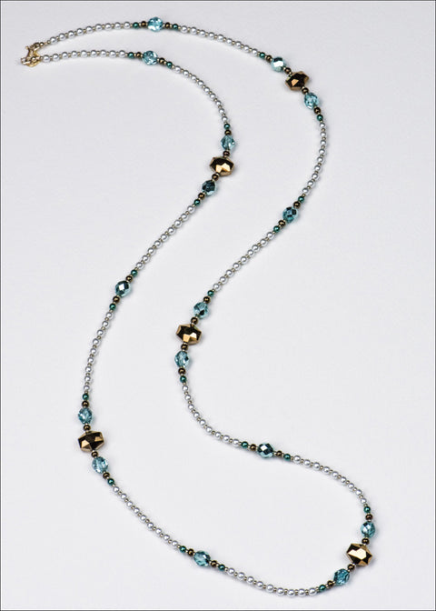 Bright Gold and Blue Pearl Necklace