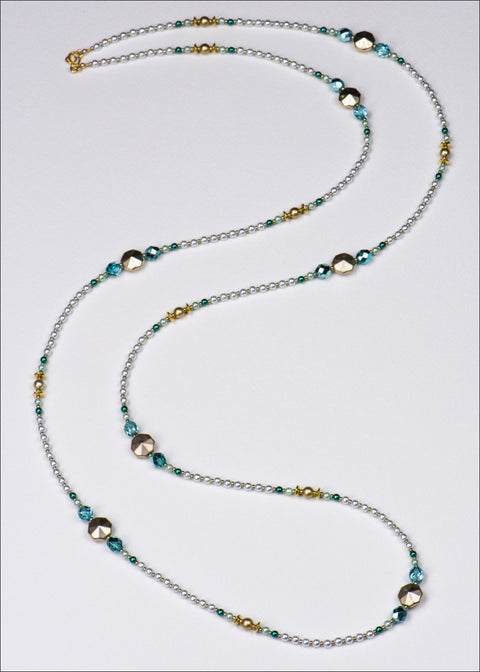 Satin Gold and Blue Pearl Necklace