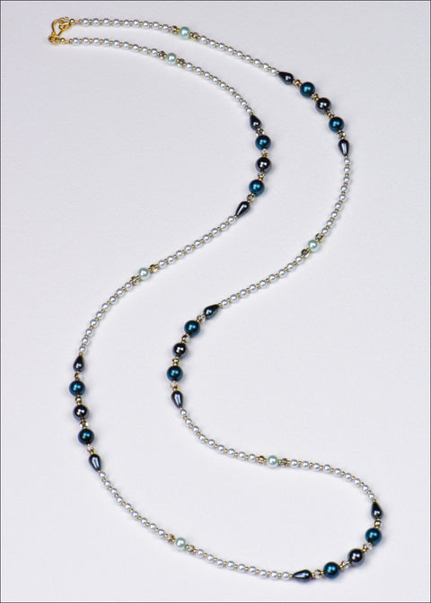 Dark Blue and Grey Pearl Necklace