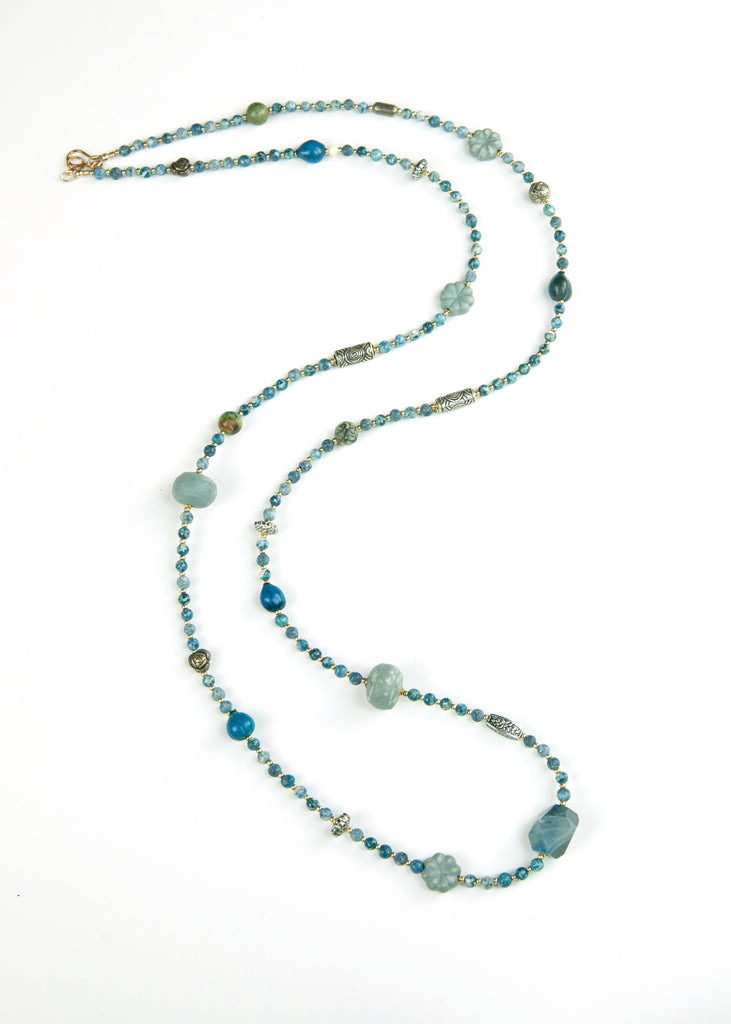 Sea Blue Stone Yoga Necklace