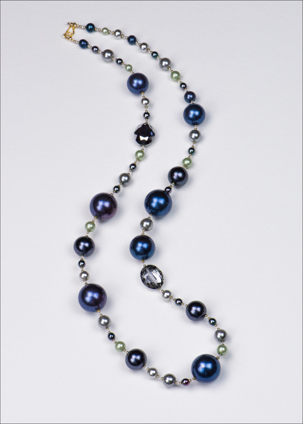 Aegean Blue and Lime Pearl Necklace