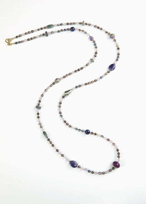 Silver and Purple Stone Yoga Necklace