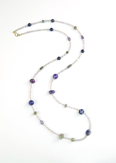 Violet Stone and Silver Yoga Necklace