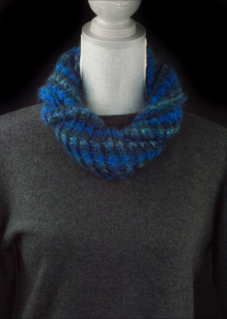 Deep Blue and Green Mohair Cowl