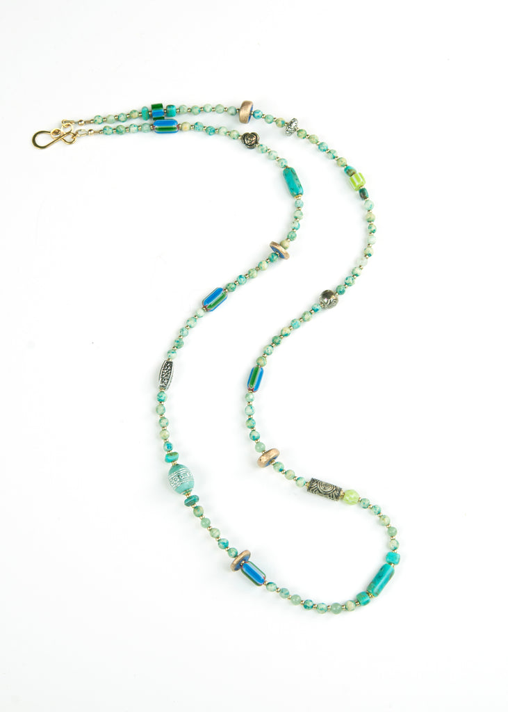 Teal Stone and Trade Bead Yoga Necklace