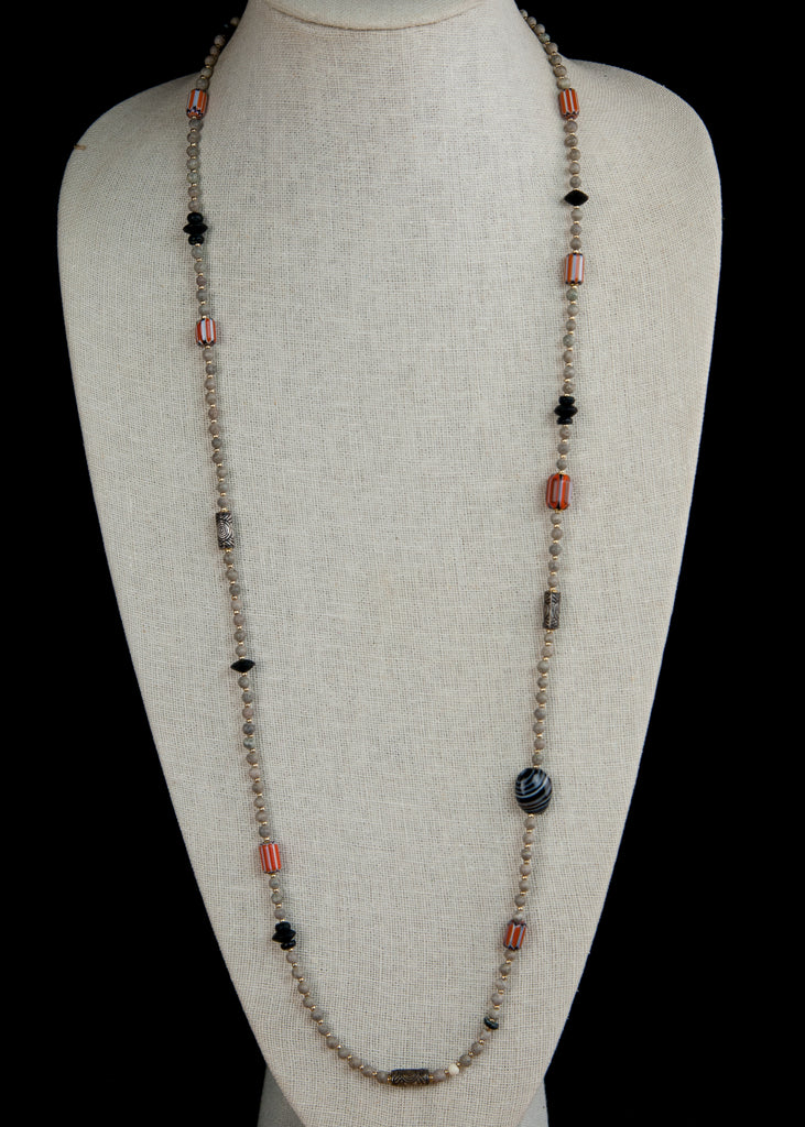 Red Trade Bead and Stone Yoga Necklace