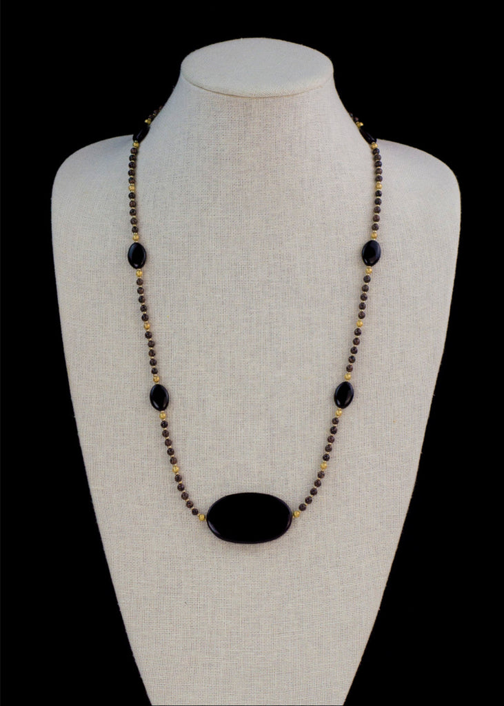 Black Stone and Acrylic Necklace