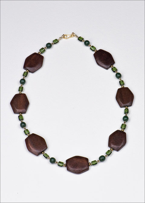 Bold Green and Brick Red Necklace