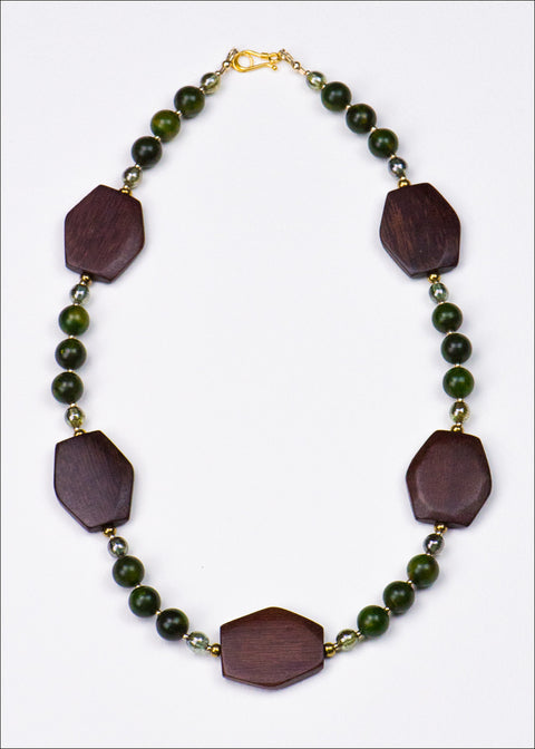 Bold Olive and Burgundy Necklace