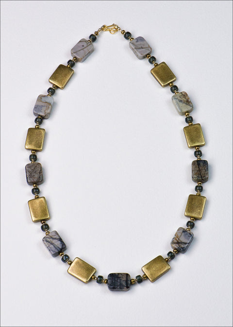 Bold Soft Gold and Stone Necklace