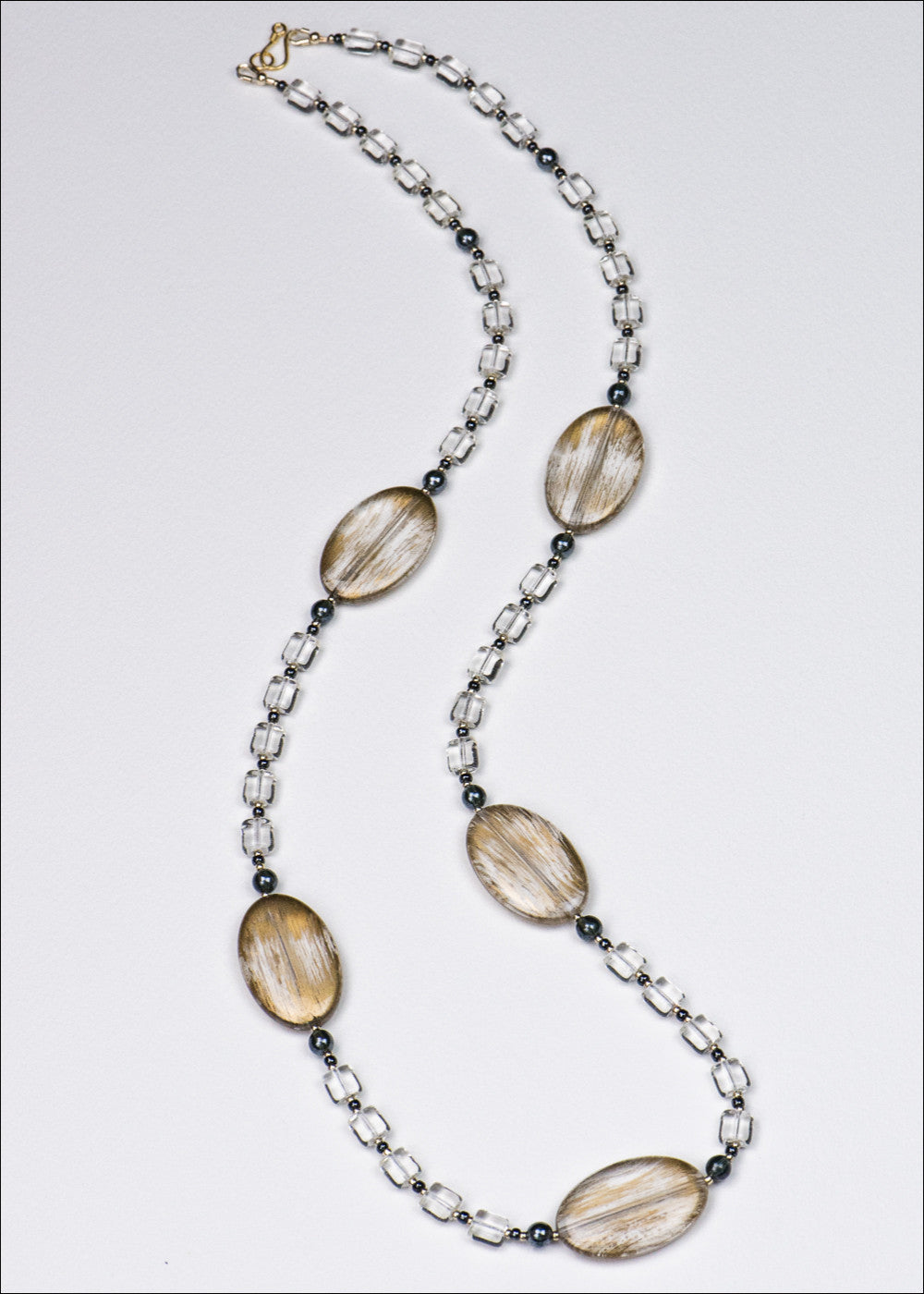 Bold Clear and Gold Necklace