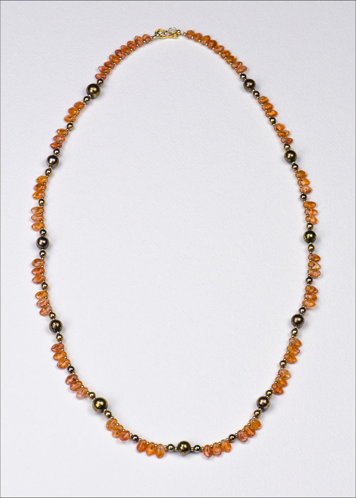 Orange and Gunmetal Glass Necklace