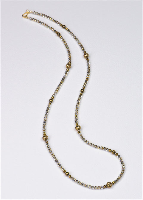 Gunmetal Gold and Glass Necklace