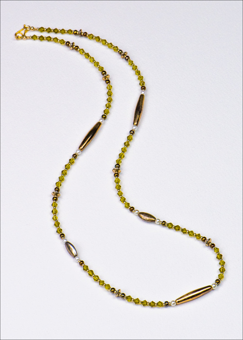 Light Olive Glass and Metal Necklace