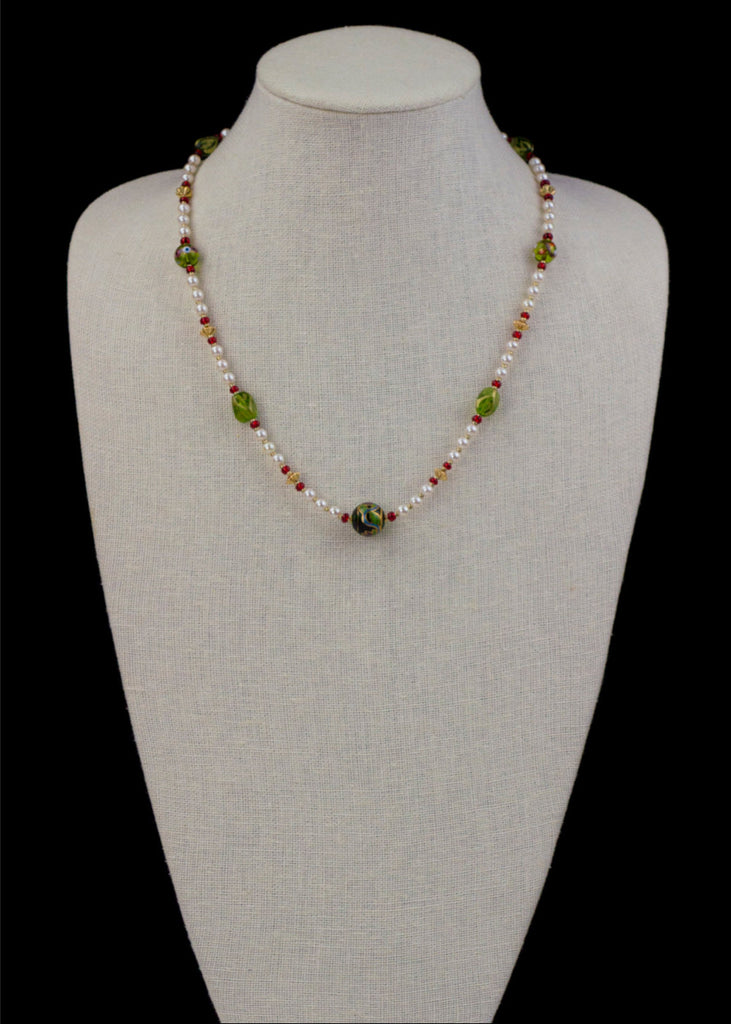 Green and Red Hand Painted Glass Necklace