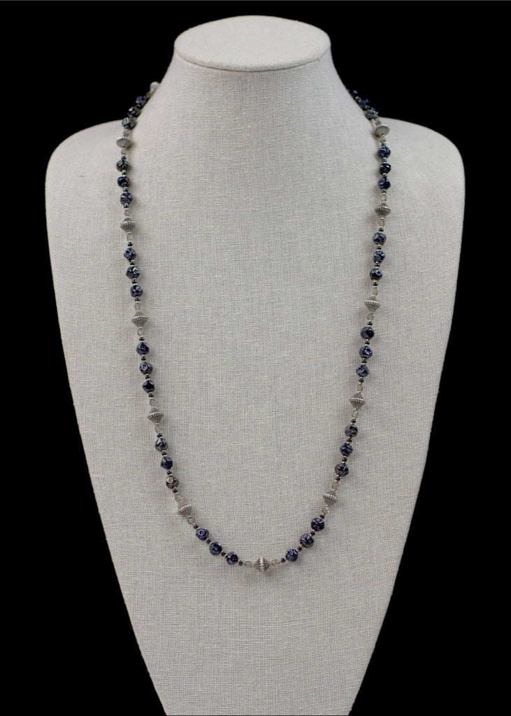 Dark Blue Glass and Metal Necklace