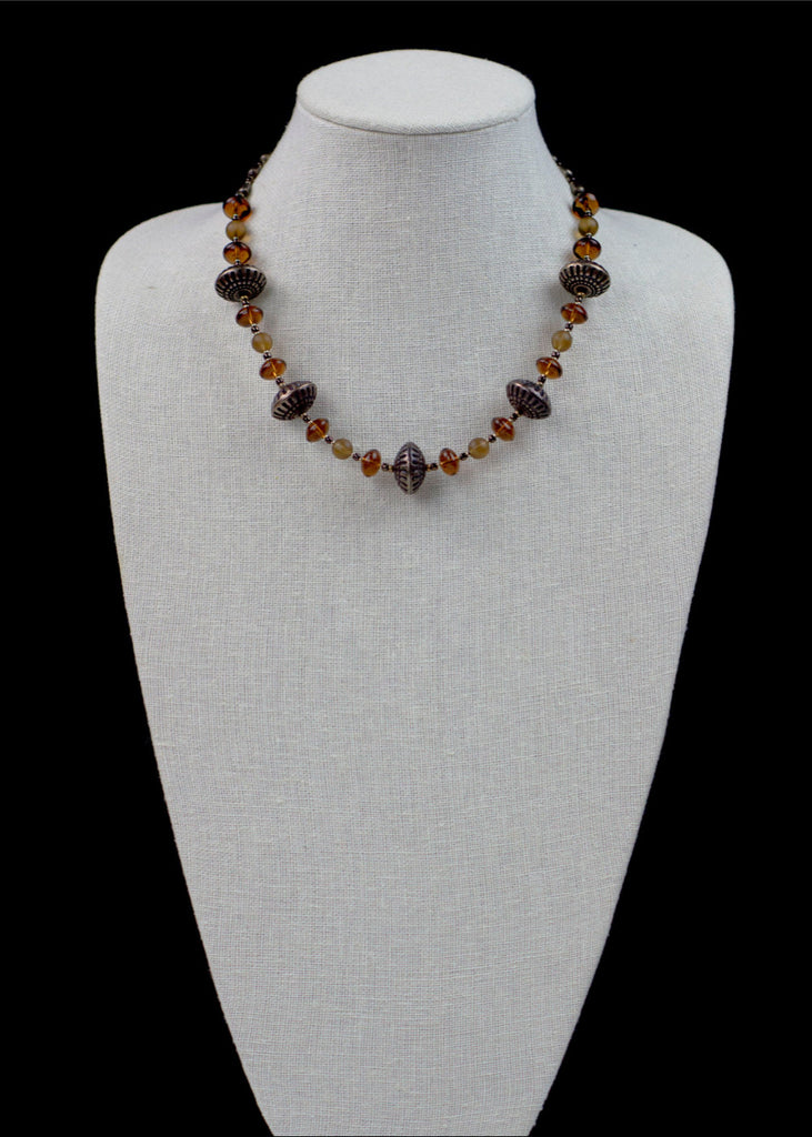 Bold Bronze Glass Necklace