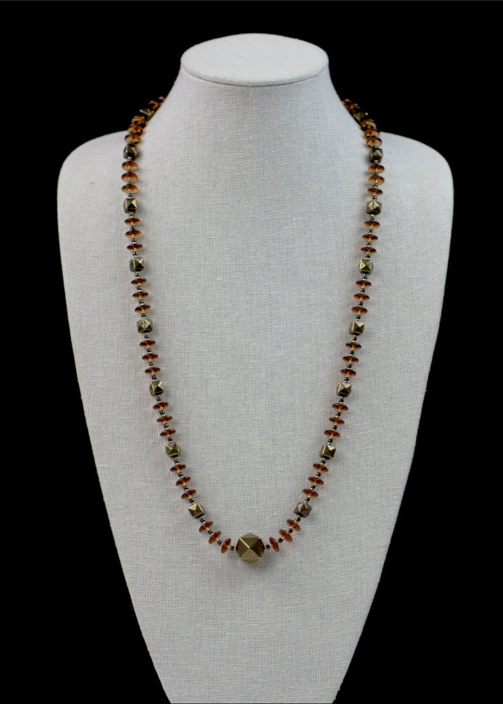 Bronze Metal and Glass Necklace