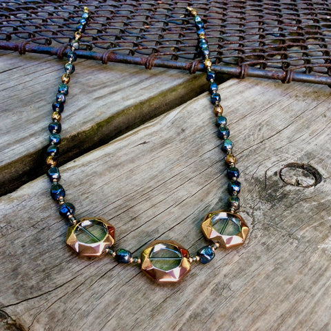 Dark Blue and Bronze Table-Cut Glass Necklace