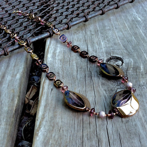 Purple Tinted Table-Cut Glass Necklace