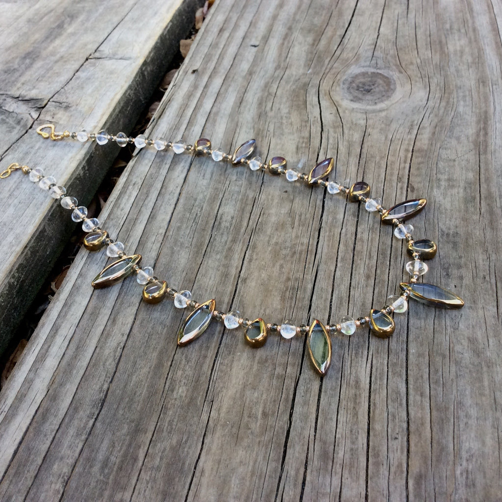 Golden Spear and Teardrop Table-Cut Glass Necklace